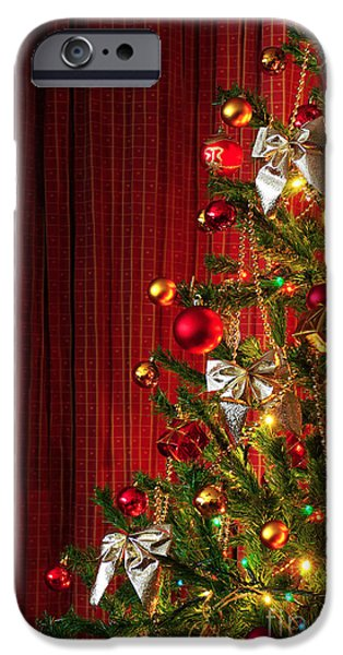 Xmas tree on red iPhone Case by Carlos Caetano