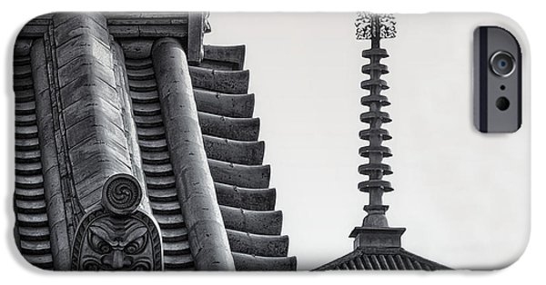 National Treasure iPhone Cases - Yakushi-ji Temple Roof Study iPhone Case by Daniel Hagerman
