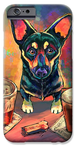 Dogs Digital Art iPhone Cases - Yappy Hour iPhone Case by Sean ODaniels