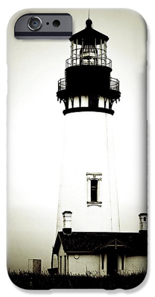 Lightstations iPhone Cases - Yaquina Head Light - Haunted Oregon Lighthouse iPhone Case by Christine Till