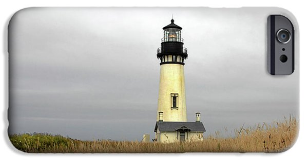 Lightstations iPhone Cases - Yaquina Lighthouses - Yaquina Head Lighthouse Western Oregon iPhone Case by Christine Till