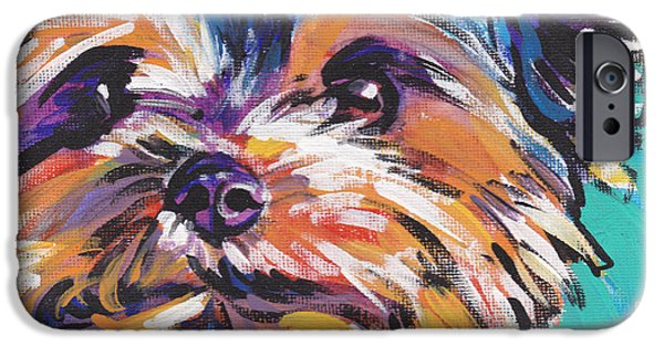 Yorkshire Terrier Art iPhone Cases - Yay Yorkie  iPhone Case by Lea