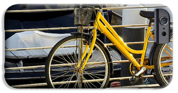 Activity iPhone Cases - Yellow Bicycle iPhone Case by Carlos Caetano