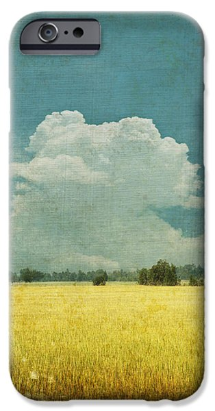 Field iPhone Cases - Yellow field on old grunge paper iPhone Case by Setsiri Silapasuwanchai