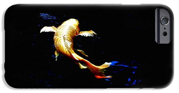 Butterfly Koi Photographs iPhone Cases - Yellow Koi iPhone Case by Don Mann
