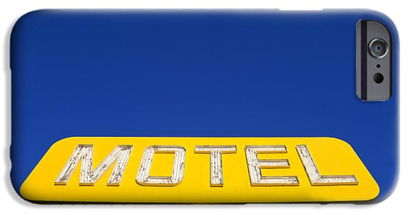 Advertise iPhone Cases - Yellow Neon Motel Sign iPhone Case by David Buffington