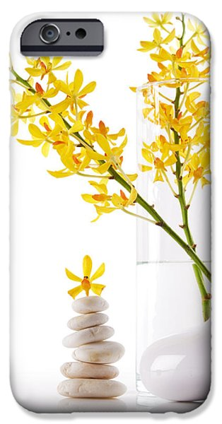 yellow orchid bunchs iPhone Case by ATIKETTA SANGASAENG