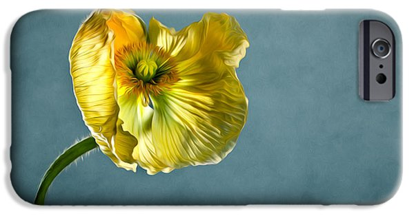 Petals iPhone Cases - Yellow Poppy iPhone Case by Nailia Schwarz