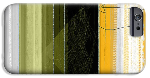 Abstract Forms iPhone Cases - Yellow Rain iPhone Case by Naxart Studio