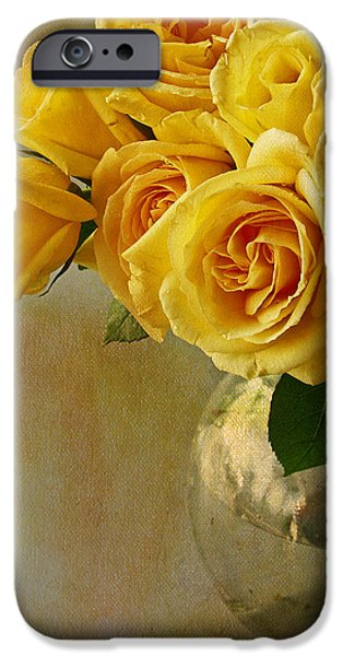 Rose iPhone Cases - Yellow Rose Of... iPhone Case by Rebecca Cozart