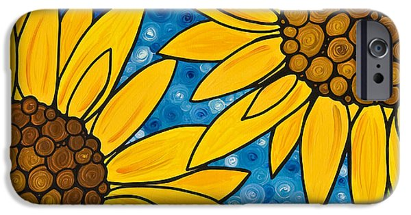 Mosaic iPhone Cases - Yellow Sunflowers iPhone Case by Sharon Cummings