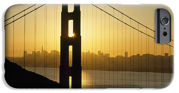 San Francisco Cali iPhone Cases - Yellow Sunrise Behind The Golden Gate iPhone Case by Axiom Photographic