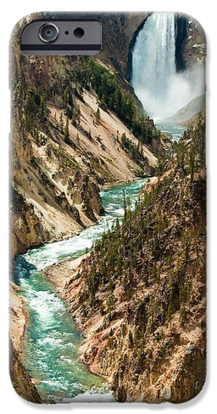 Grand Canyon iPhone Cases - Yellowstone Waterfalls iPhone Case by Sebastian Musial