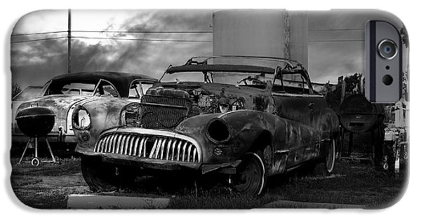 Junk Yard iPhone Cases - Yesterday Came Early . Tomorrow Is Almost Over 2 . Black and White iPhone Case by Wingsdomain Art and Photography