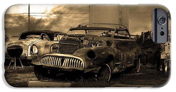 Junk Yard iPhone Cases - Yesterday Came Early . Tomorrow Is Almost Over 2 . Sepia iPhone Case by Wingsdomain Art and Photography