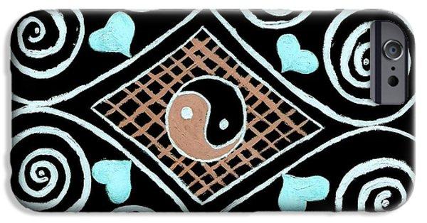 Best Sellers -  - Abstract Digital Drawings iPhone Cases - Yin Yang Swirls on Black iPhone Case by Jeannie Atwater Jordan Allen