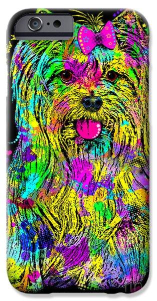 Puppy Digital Art iPhone Cases - Yorkie Beauty iPhone Case by Zaira Dzhaubaeva