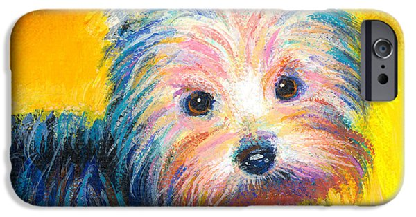 Puppies iPhone Cases - Yorkie puppy painting print iPhone Case by Svetlana Novikova