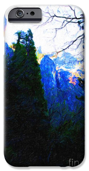 Yosemite Snow Mountain Tops . Vertical Cut iPhone Case by Wingsdomain Art and Photography