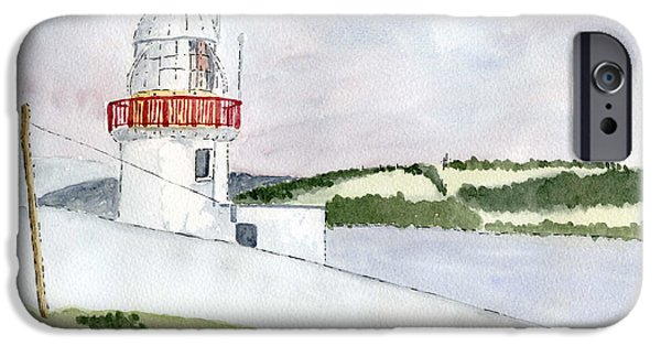 Lighthouse Drawings iPhone Cases - Youghal Lighthouse iPhone Case by Eva Ason