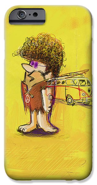 Big Hair iPhone Cases - Young Barney iPhone Case by Russell Pierce