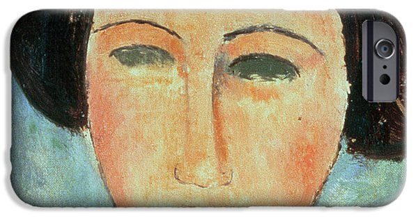 Eyebrow iPhone Cases - Young Brunette iPhone Case by Modigliani