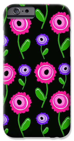 Floral Digital Art Digital Art iPhone Cases - Young Florals  iPhone Case by Louisa Knight
