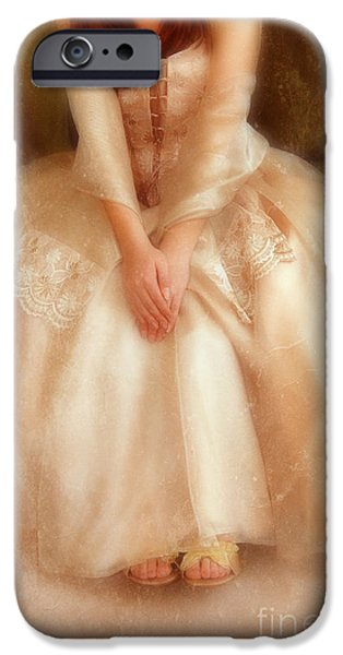 Ball Gown iPhone Cases - Young Lady Sitting in Satin Gown iPhone Case by Jill Battaglia