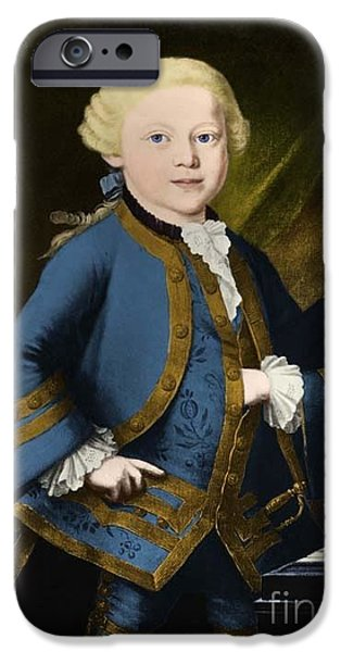 Operatic iPhone Cases - Young Wolfgang Amadeus Mozart, Austrian iPhone Case by Omikron