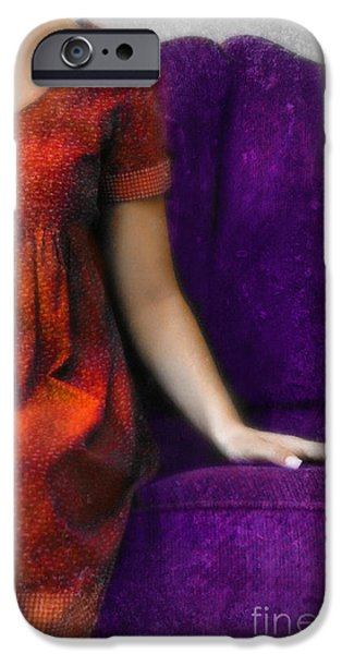 Youthful iPhone Cases - Young Woman in Red on Purple Couch iPhone Case by Jill Battaglia