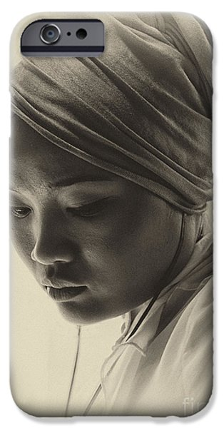 Young Photographs iPhone Cases - Young woman in turban iPhone Case by Sheila Smart