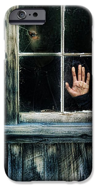 Young Woman Looking Through Hole in Window iPhone Case by Jill Battaglia