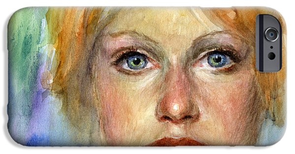 Signed Drawings iPhone Cases - Young woman Watercolor portrait painting iPhone Case by Svetlana Novikova