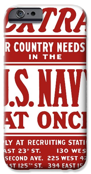 Political Mixed Media iPhone Cases - Your Country Needs You In The US Navy iPhone Case by War Is Hell Store