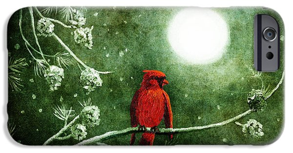 Pines iPhone Cases - Yuletide Cardinal iPhone Case by Laura Iverson
