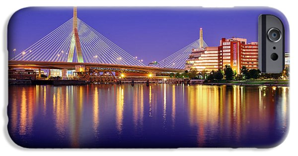 Boston iPhone Cases - Zakim Twilight iPhone Case by Rick Berk