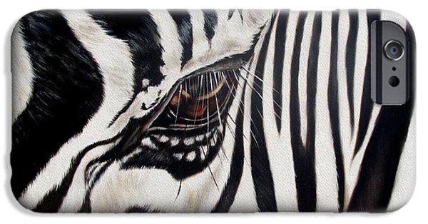 Wildlife Paintings iPhone Cases - Zebra Eye iPhone Case by Ilse Kleyn