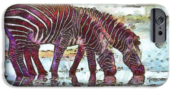 Flora Drawings iPhone Cases - Zebras iPhone Case by George Rossidis