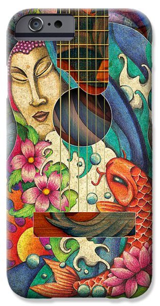 Cherry Blossoms Drawings iPhone Cases - Zen Guitar iPhone Case by Julie Oakes