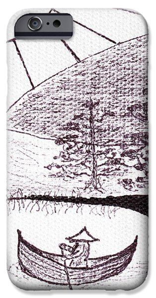 Crops Drawings iPhone Cases - Zen Sumi Asian Lake Fisherman Black Ink on White Canvas iPhone Case by Ricardos Creations