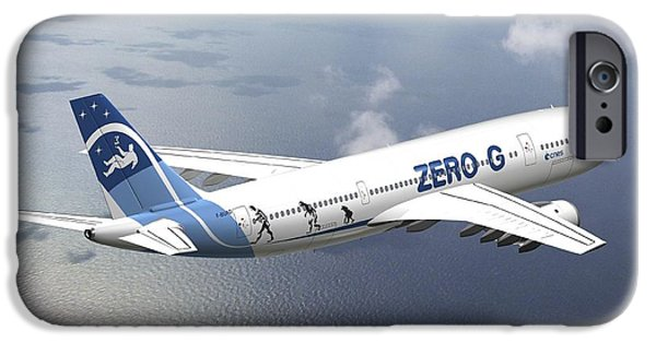 2000s iPhone Cases - Zero-g Airbus Aircraft, Artwork iPhone Case by David Ducros