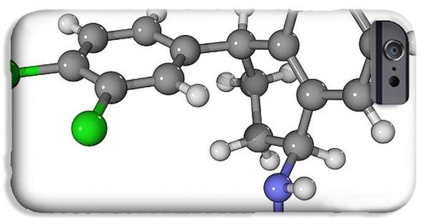 Antidepressant iPhone Cases - Zoloft Antidepressant Drug Molecule iPhone Case by Laguna Design