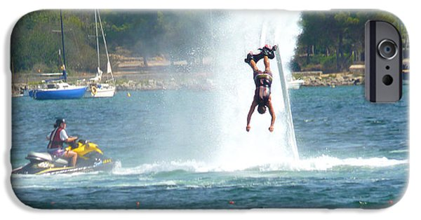 Jet-propelled iPhone Cases - # 1 Skyboarding Ibiza Spain iPhone Case by Alan Armstrong
