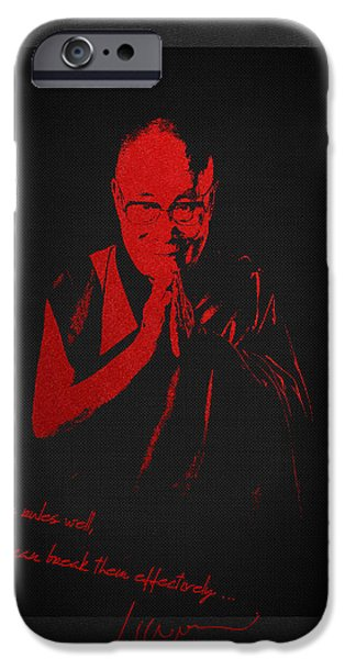 Tibetan Buddhism Digital iPhone Cases -  14th Dalai Lama Tenzin Gyatso - Know the rules well so you can break them effectively iPhone Case by Serge Averbukh