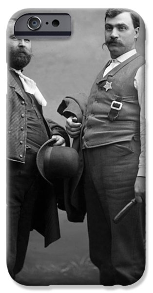 Law Enforcement iPhone Cases -  1890s Archive Badge Beard Billy Club Black White iPhone Case by Mark Goebel