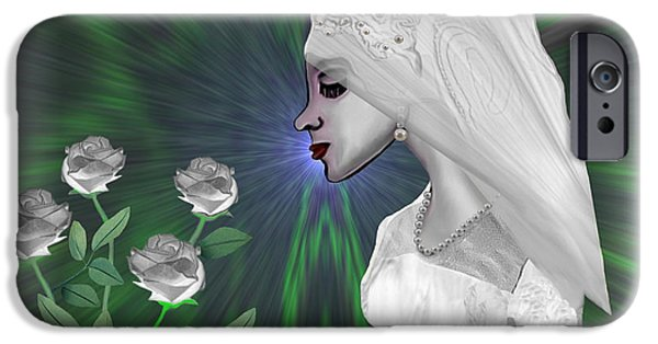Irmgard iPhone Cases -  202 - Shy  Bride   iPhone Case by Irmgard Schoendorf Welch