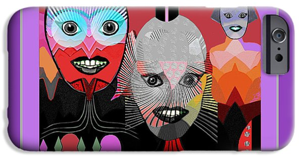 Hallucination iPhone Cases -   384 - Crazy Dollies smiling iPhone Case by Irmgard Schoendorf Welch