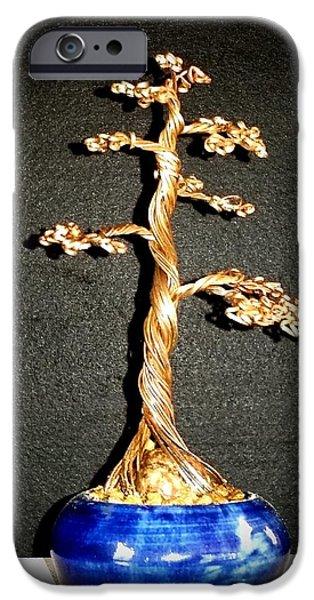 Etc. Sculptures iPhone Cases - # 69 Copper Motor Windings Tree Sculpture iPhone Case by Ricks  Tree Art