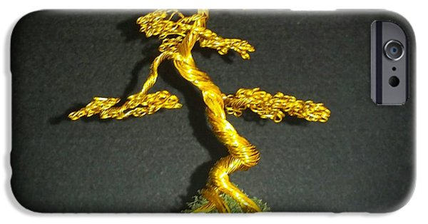 Etc. Sculptures iPhone Cases - # 70 Tiny little Brass Tree Sculpture iPhone Case by Ricks  Tree Art