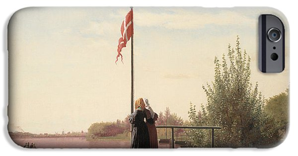 Flag Paintings iPhone Cases -  A View from Dosseringen iPhone Case by Christen Schjellerup Kobke